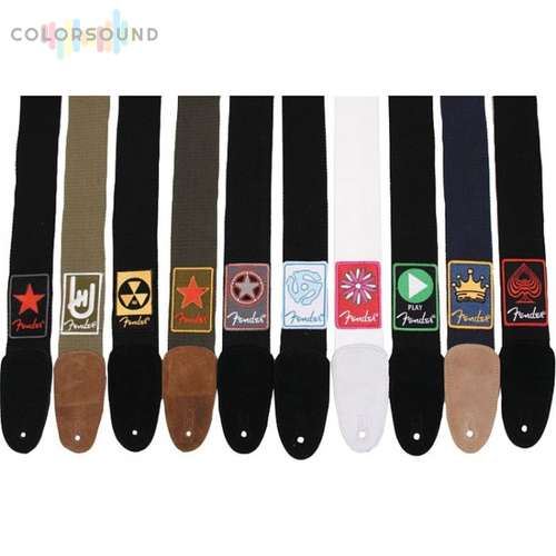 FENDER PATCHWORKS STRAP Black Cotton/Leather Strap