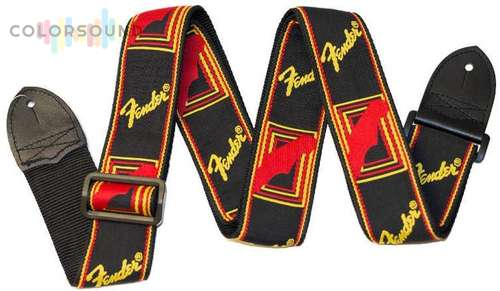 FENDER 2' MONOGRAMMED BLACK/YELLOW/RED STRAP