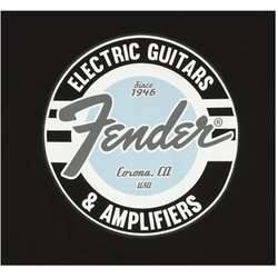 FENDER T-SHIRT GUITAR AND AMP LOGO MEN'S BLACK/DAPHNE BLUE L