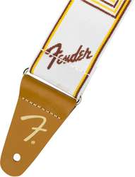 "FENDER 2"" WEIGHLESS MONOGRAMMED STRAP WHITE/BROWN/YELLOW"